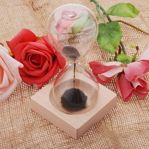 1pcs Magnet Hourglass Awaglass Hand-blown Timer Desktop Decoration Magnetic Hourglass Black