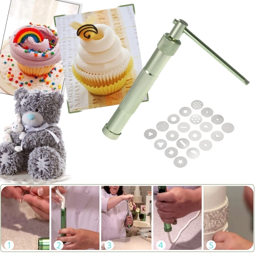 Decdeal Sugar Paste Extruder with 20 Tips Sugar Craft Fondant Cake Decorating Tool