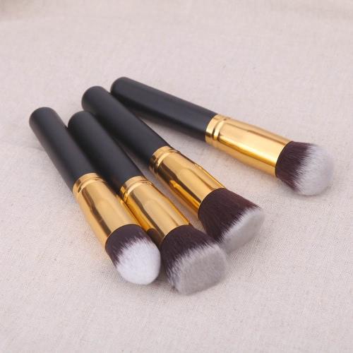 4pcs madeira maquiagem escova Kit profissional cosméticos conjunto virola de ouro preto