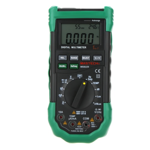 MASTECH MS8229  Auto Range LCD Backlight DMM Digital Multimeters w/ Noise Illumination Temperature & Humidity Tester