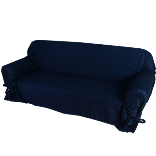 High Quality Soft Cotton Slipcover Couch Sofa Slip Cover for Loveseat 2 Seater Dark Blue