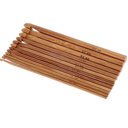 Бамбуковый крючок для вязания 12шт/набор 12 Размеров 3mm-10mm Рукоделие Набор инструментов