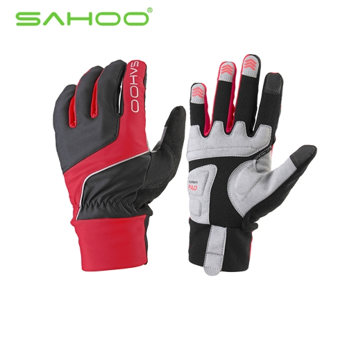 SAHOO Cycling Bicycle Racing Riding Shock-absorbing Touch Screen Gloves Full Finger GEL Silicone Outdoor Sports Unisex