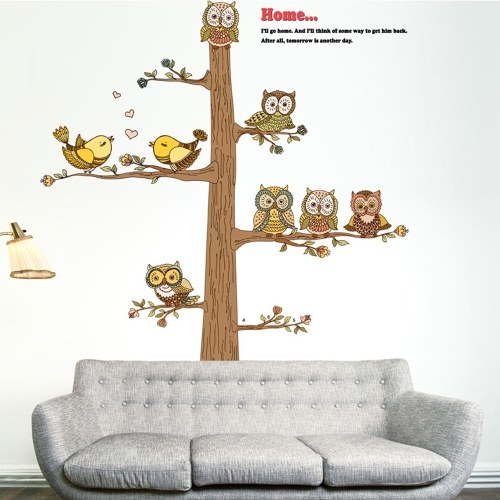 Cartoon Owls Wall Sticker Art Decals Mural DIY Wallpaper for Room Decal 60 * 90cm