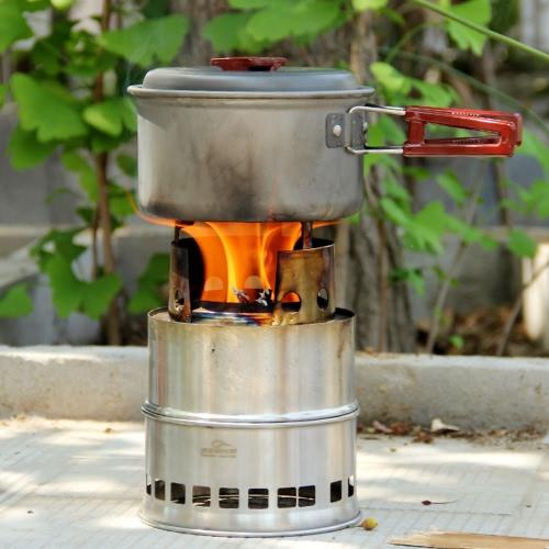 Lixada Портативная нержавеющая сталь Легкая деревянная печь Затвердевшая спиртовая печь На открытом воздухе Кулинария Пикник Барбекю Отдых на природе