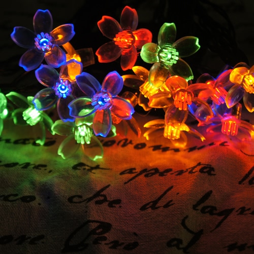 50 LED Solar Outdoor Fairy Flower Blossom Wedding Party Garden String Light