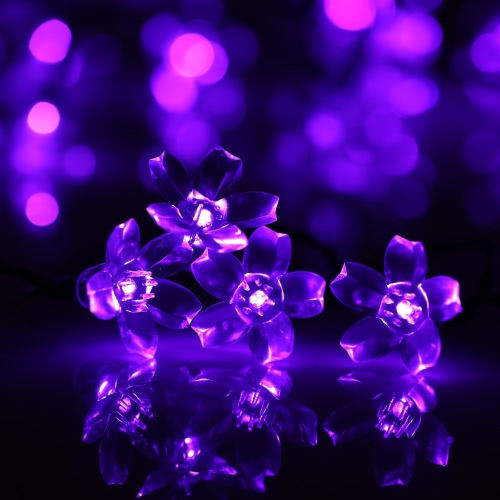 50 LED Solar Outdoor Fairy Flower Blossom Hochzeit Garten String Licht