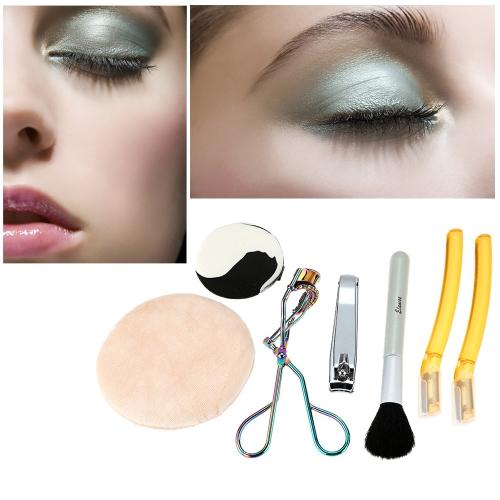 6ST Make-up passt Augenbrauen Pinsel Nagel geschnittene Wimpern Curler Puderquaste Beauty Tools Eyelash Curler Kit Make-up Set Farben zufällige