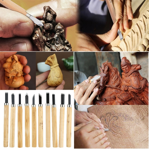 Hot Sell 10PCS / Set Wood Carving Woodcarving Tools Hand Woodworkers Tool Chisel