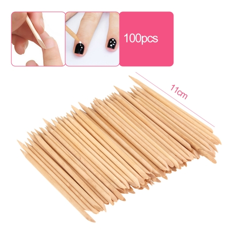 100pcs Design Orange Wood Stick Cuticle Pusher Remover Manicure Care Professional Manicure Tools Accessories
