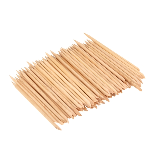 100pcs Design Orange Holz Stick Cuticle Pusher Remover Maniküre Pflege professionelle Maniküre Zubehör-Tools