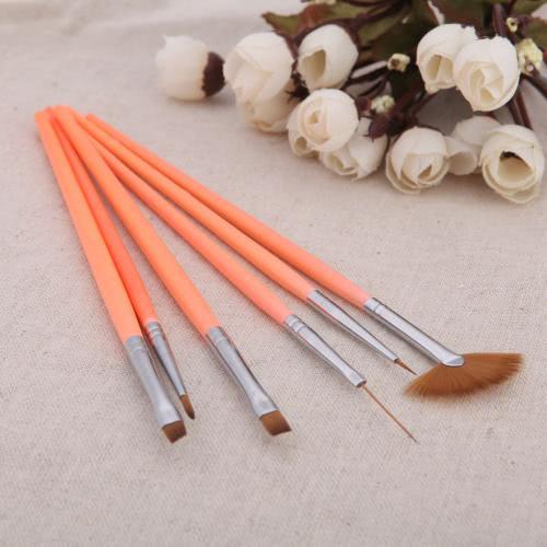 6pcs uñas arte diseño pluma conjunto punteado Kit cepillo de pintura