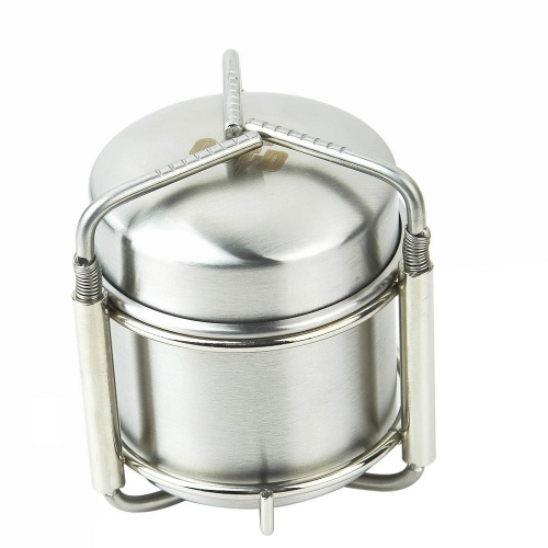 Portable Rotatable Mini Stainless Steel Alcohol Stove With Stand Hiking Non Slip
