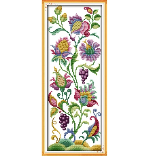 DIY Handmade Needlework Counted Cross Stitch Set Embroidery Kit 14CT Beautiful Flowers Pattern Cross-Stitching 21 * 50cm Home Decoration
