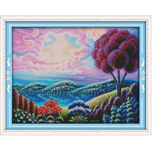 46 * 37cm Kits de broderie au point de croix 14CT en motif de paysage fantastique Croix-Couture Décoration mural