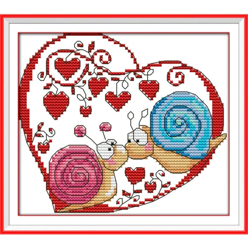 20 * 18cm Kits de broderie au point de croix 14CT en motif de couple d' escargot Croix-Couture Décoration mural