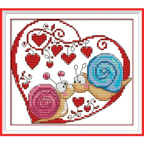 DIY Ручное рукоделие Набор вышивки крестом 14CT Комплект вышивания крестом Паттерн влюблённых улиток 20 * 18cm Украшение Дома