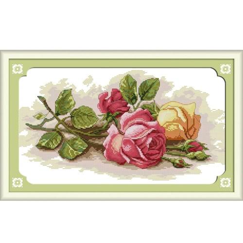 DIY Ręcznie robiona igła licowana Zestaw do haftowania krzyżykowego Zestaw do haftowania 14CT Piękny wzór wzorca różowego haftowania 45 * 29cm dekoracji domu