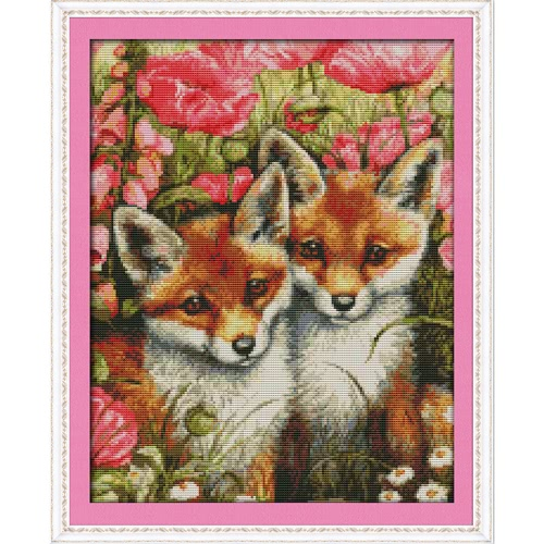 DIY Handmade Needlework Counted Cross Stitch Set Embroidery Kit 14CT Lovely Foxes Pattern Cross-Stitching 35 * 44cm Home Decoration