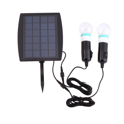 Solar Powered Two LED Bulbs Double Lamp Light