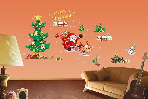 Christmas Tree The Santa Claus Removable Wallpaper