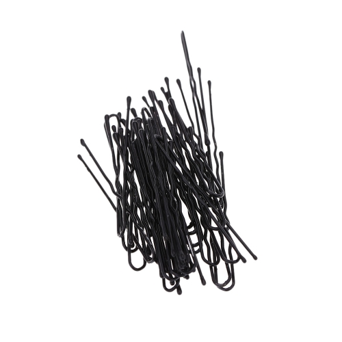 50 pcs の薄い U シェイプ髪ヘアピン黒金属クリップ