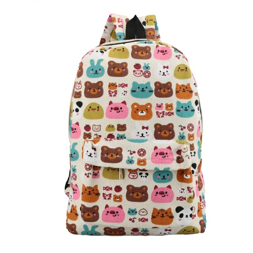 Fashion Men Women Backpack Cartoon Letter Print Schoolbag Satchel Travel Bag 7#