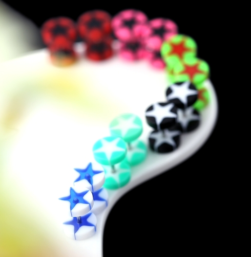 12Pcs Unisex Acrylic Fake Ear Plug Tunnel Stretcher Expander Expansion Stud Earrings Cheater