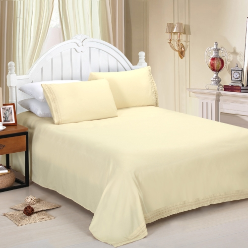 Shads Embroider Cording 4Pcs Bedding Set Fitted Sheet Bed Cover Pillow Cases Bedclothes Home Textiles