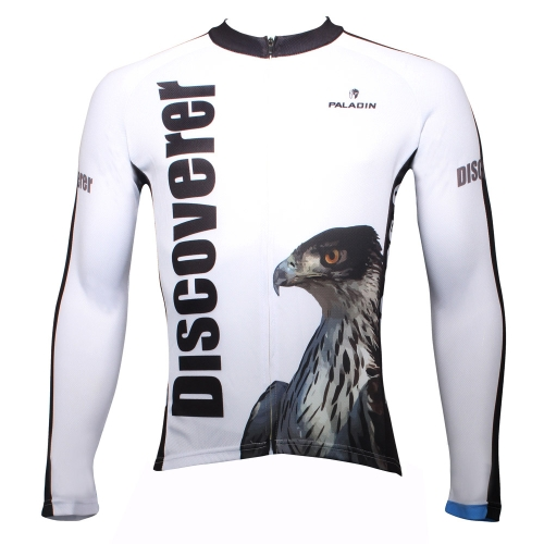 Paladin Sportswear Men's Spring Summer Autumn Style 100% Polyester Long Sleeved Outdoor Eagle White Cycling Jersey Breathable Clothes