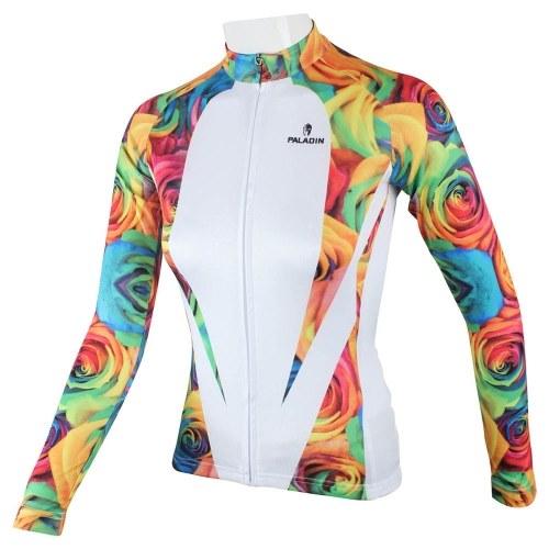 Segunda Mão Paladino Sportswear das Mulheres Primavera Verão Outono Estilo 100% Poliéster Manga Comprida Ao Ar Livre Rose Camisa de Ciclismo Respirável Roupas