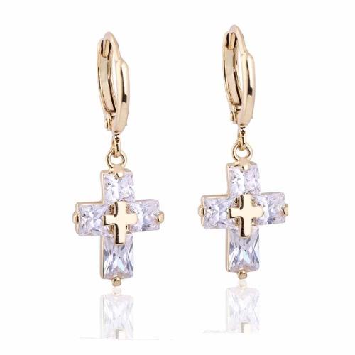 1pair claro circón de cristal 18K oro Cruz gota colgantes colgante oreja pendiente joyas regalo para mujeres Dama