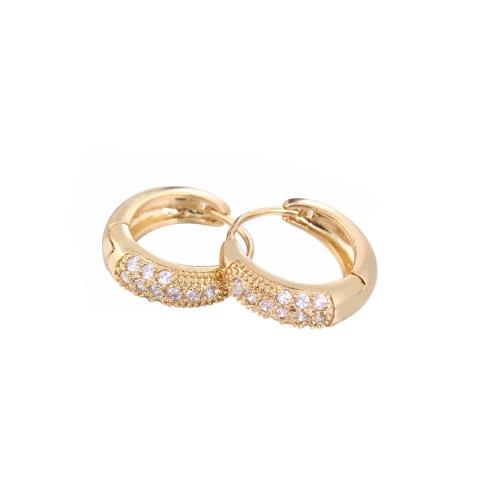 1PAAR vergoldet klar Crystal Zirkon 18K Vintage Retro Hoop Ohrringe Schmuck Geschenk für Frauen Lady