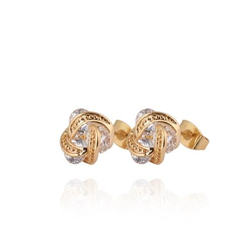 1Pair claro cristal de zircão 18k Gold Plated orelha Stud brinco folha lua jóias presente para mulheres senhora de giro