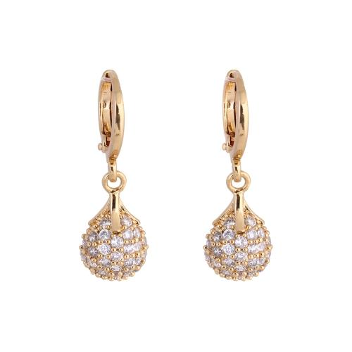 1PAAR vergoldet klar Crystal Zirkon 18K Bead Ball Runde Tropfen Anhänger Ohr Ohrring Schmuck Geschenk für Frauen Lady