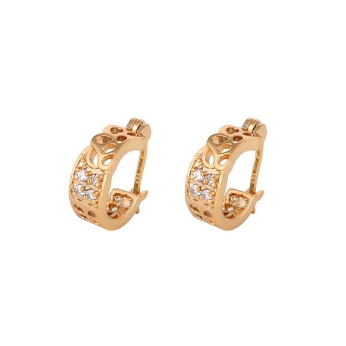 Oro 1 par claro cristal circón 18K plateado retro vintage Trébol hueco Amplia Pendientes de aro regalo de la joyería de las mujeres de señora