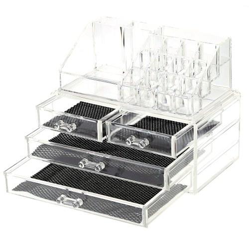 2 в 1 Акриловый Ювелирные изделия и косметика Коробка для хранения Дисплей Организатор Двухпредметный комплект