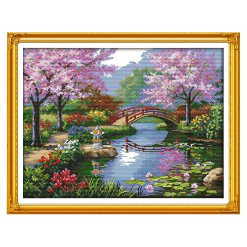 Decdeal DIY Handmade Needlework Counted Cross Stitch Set Embroidery Kit 14CT Beautiful Scenery of Park Pattern Cross-Stitching 57 * 45cm Home Decoration