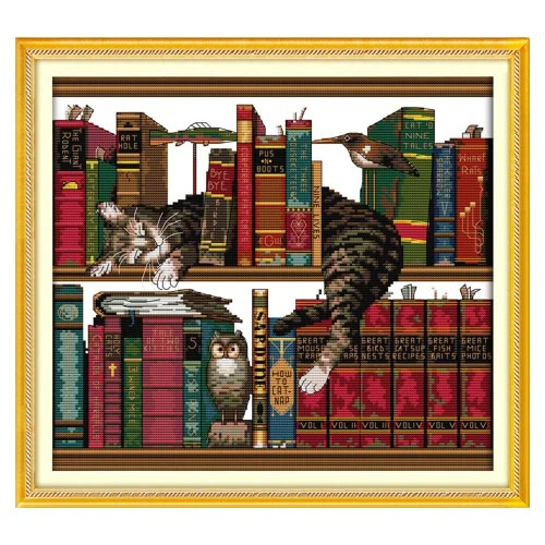 DIY Handmade Needlework Counted Cross Stitch Set Embroidery Kit 14CT Cat on Bookshelf Pattern Cross-Stitching 41 * 38cm Home Decoration
