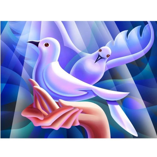 DIY Handmade Full Drill Diamond Painting Set Peace Dove Pattern Resin Rhinestone Pasted Cross Stitch for Home Decoration 40 * 30cm