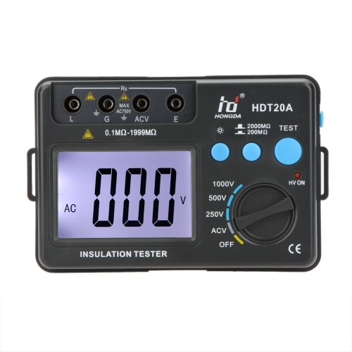 HONGDA HD HDT20A Medidor de resistencia de aislamiento Medidor Megaohmímetro Voltímetro 1000V con retroiluminación LCD