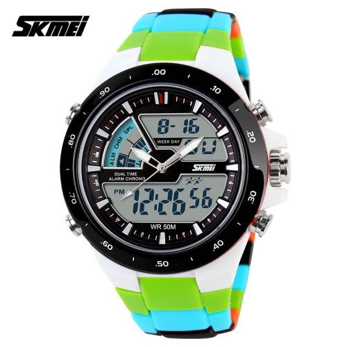 SKMEI 5ATM impermeabile moda uomini LCD digitale cronometro cronografo data allarme Casual sportivo orologio da polso 2 fuso orario