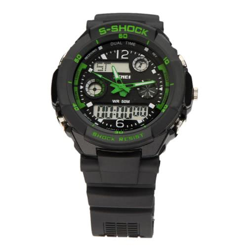 SKMEI 5ATM 防水ファッション男性液晶デジタル ストップウォッチ クロノグラフ日付アラーム カジュアル スポーツの腕時計 2 タイムゾーン