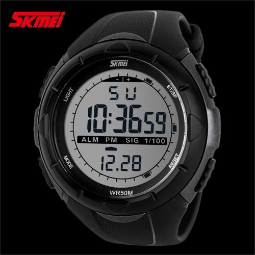SKMEI 5ATM Waterproof  Fashion Men LCD Digital Stopwatch Chronograph Date Alarm Casual Sports Wrist Watch