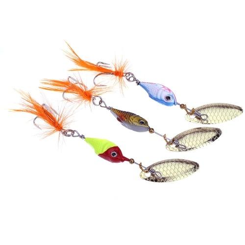 8cm 10g colorato pesca esca esche duro metallo cucchiaio con attrezzatura da pesca piuma/gancio
