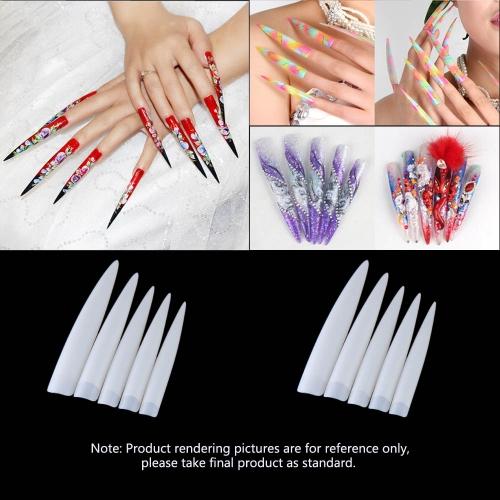 10ST lange scharfe False Nail Profi Salon falsche Acryl Nail Art Tipps