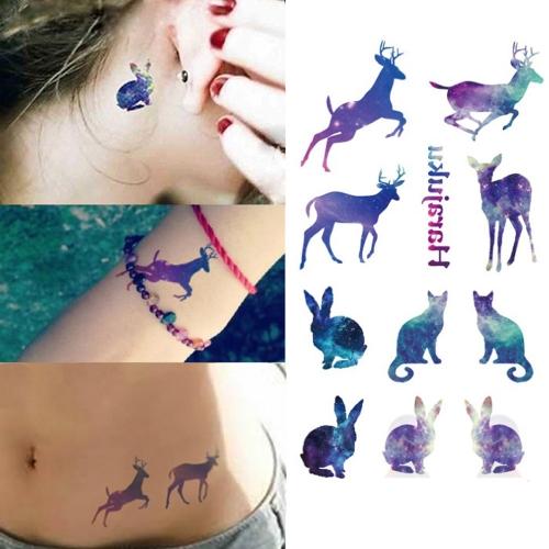 Tatuaje etiqueta animales encantadores patrón temporal impermeable papel cuerpo arte