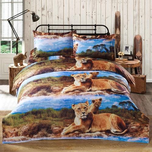 Anself 4ST 3D gedruckt Bettwäsche Set Bettwäsche Löwe Muster Queen Size Duvet Cover + Bett Blatt + 2 Kissenbezüge Heimtextilien