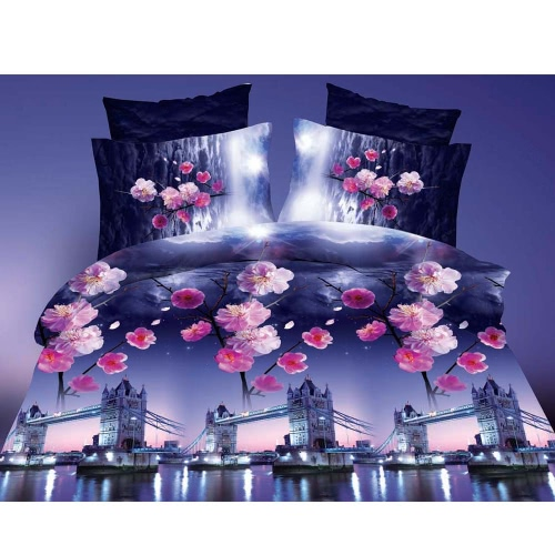 4pcs 3D Printed Bedding Set Bedclothes Tower Bridge and Plum Blooming Queen Size Duvet Cover+Bed Sheet+2 Pillowcases Home Textiles