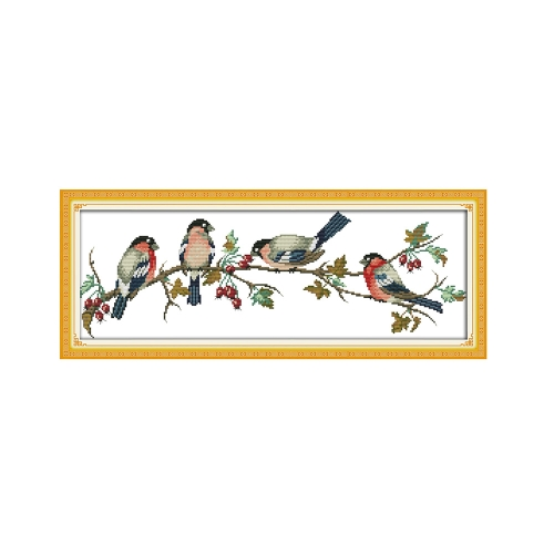 Decdeal DIY Handmade Needlework Cross Stitch Set Embroidery Kit Precise Printed Bullfinches Pattern Cross-Stitching 68 * 26cm Home Decoration